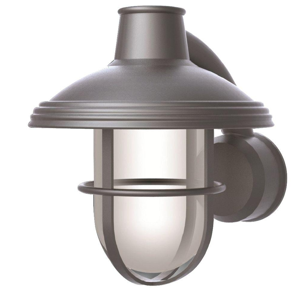 Current Newport Coastal Bayview Satin Nickel Outdoor Wall Mount Lantern 7972 In Nickel Outdoor Lanterns (Gallery 10 of 20)