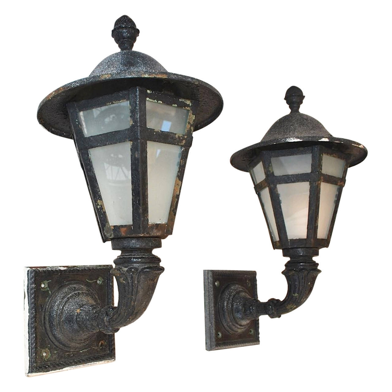 Current Outdoor Iron Lanterns Regarding Large Pair Of 1920 Cast Iron And Metal Outdoor Sconces For Sale At (View 7 of 20)