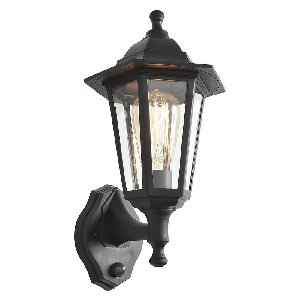 Current Outdoor Lanterns With Pir Regarding Neri Outdoor Polycarbonate Wall Lantern With Pir – Black (View 2 of 20)