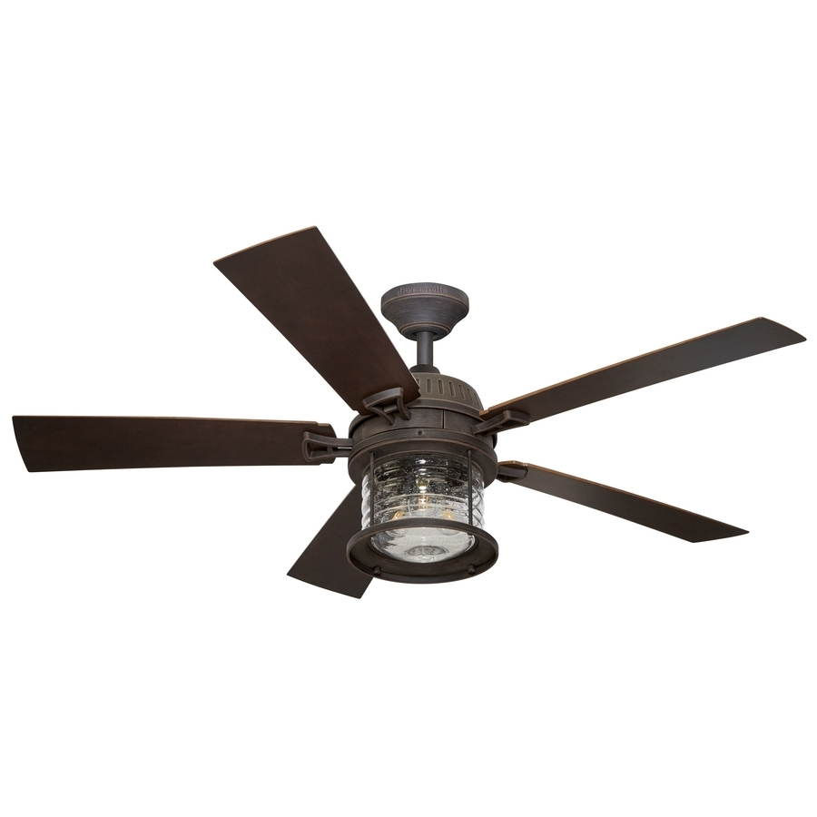Current Shop Allen + Roth Stonecroft 52 In Rust Indoor/outdoor Downrod Or Regarding Outdoor Ceiling Fans With Dimmable Light (View 12 of 20)