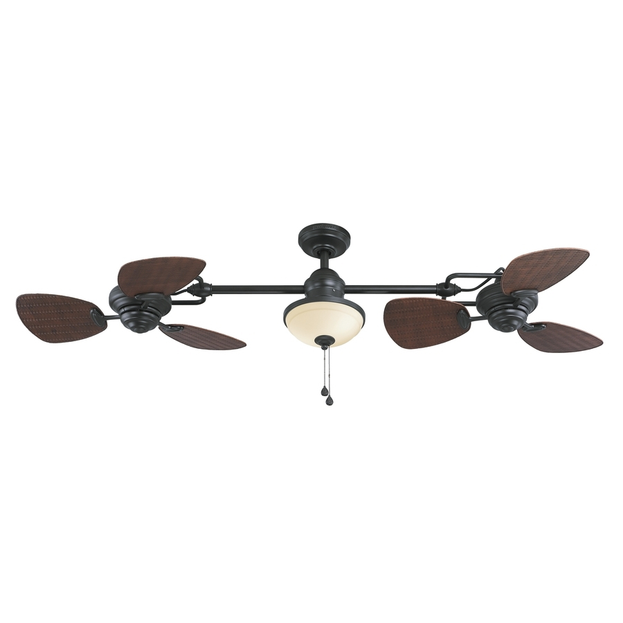 Current Wicker Outdoor Ceiling Fans In Shop Harbor Breeze Twin Breeze Ii 74 In Oil Rubbed Bronze Indoor (View 1 of 20)