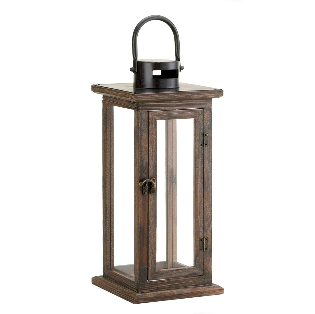 Decorative Candle Lanterns, Large Wood Rustic Outdoor Candle Lantern With Most Popular Outdoor Wood Lanterns (View 3 of 20)