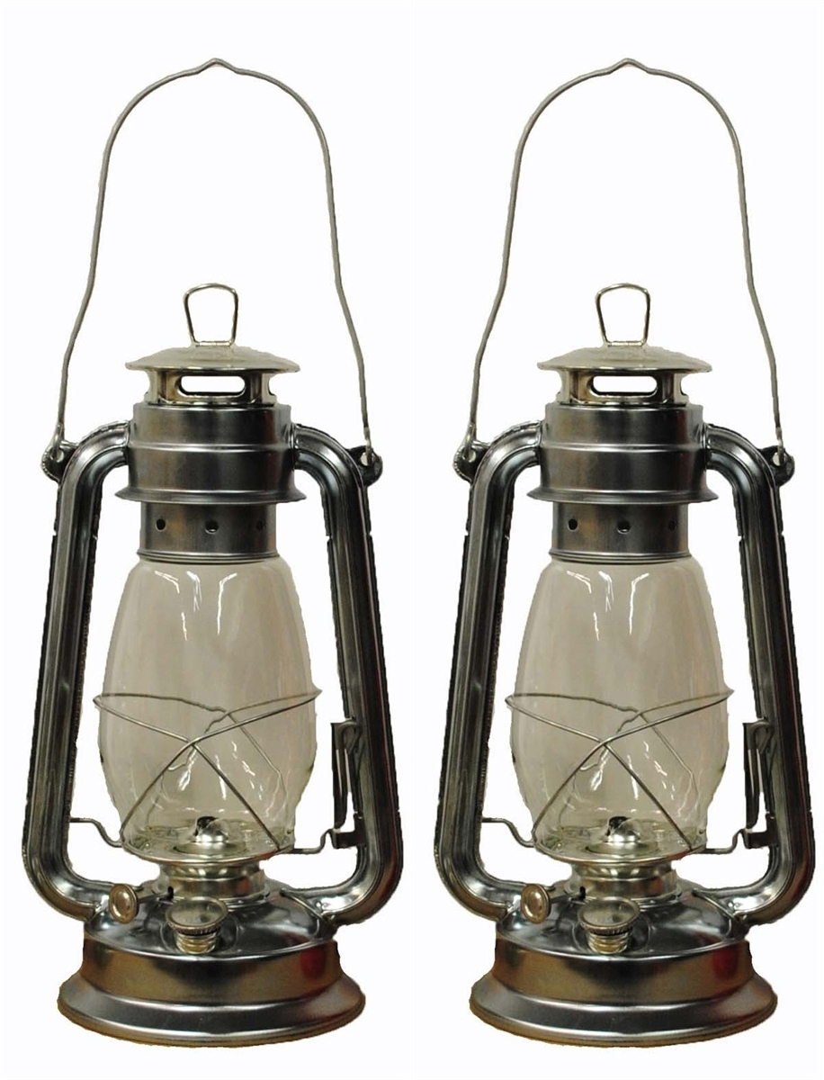 Decorative Outdoor Kerosene Lanterns Intended For Well Known 12 Inch Silver Hurricane Lantern (View 2 of 20)