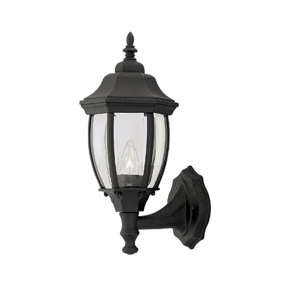 Designers Fountain Windsor Mill Collection Solid Black Outdoor Wall Pertaining To Fashionable Wall Mounted Outdoor Lanterns (View 3 of 20)
