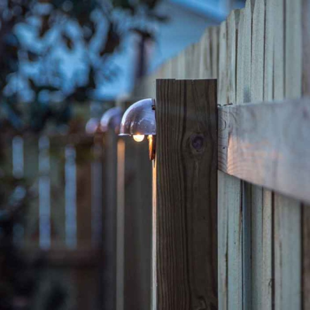 Diy Outdoor Lanterns Intended For Well Known Diy Wood Privacy Fence With Accent Lighting – Outdoor Lights For (View 6 of 20)