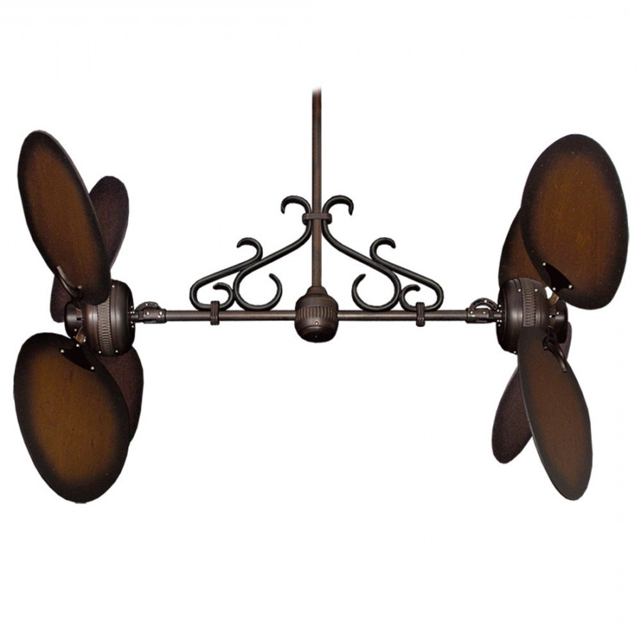 Dual Outdoor Ceiling Fans With Lights Intended For 2019 Twin Star Iii Double Ceiling Fan – Oiled Bronze With 13 Blade Options (View 7 of 20)