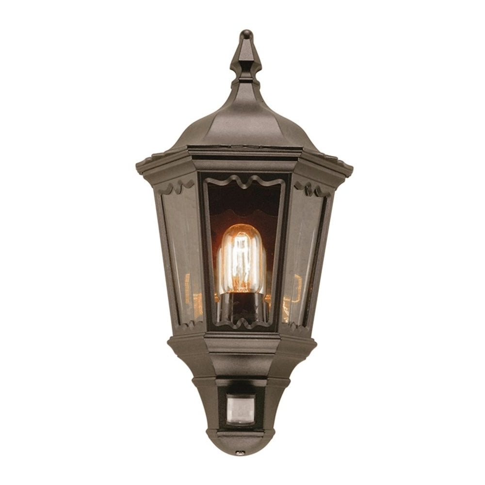 Elstead Md7Pirblack Medstead 1 Outdoor Pir Half Wall Lantern In Black Throughout Well Known Outdoor Lanterns With Pir (Gallery 18 of 20)