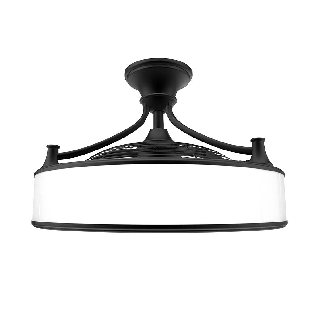 Enclosed Outdoor Ceiling Fans Pertaining To 2019 Indoor Outdoor Ceiling Fan Light Frosted Glass 22In Black Vintage (View 8 of 20)