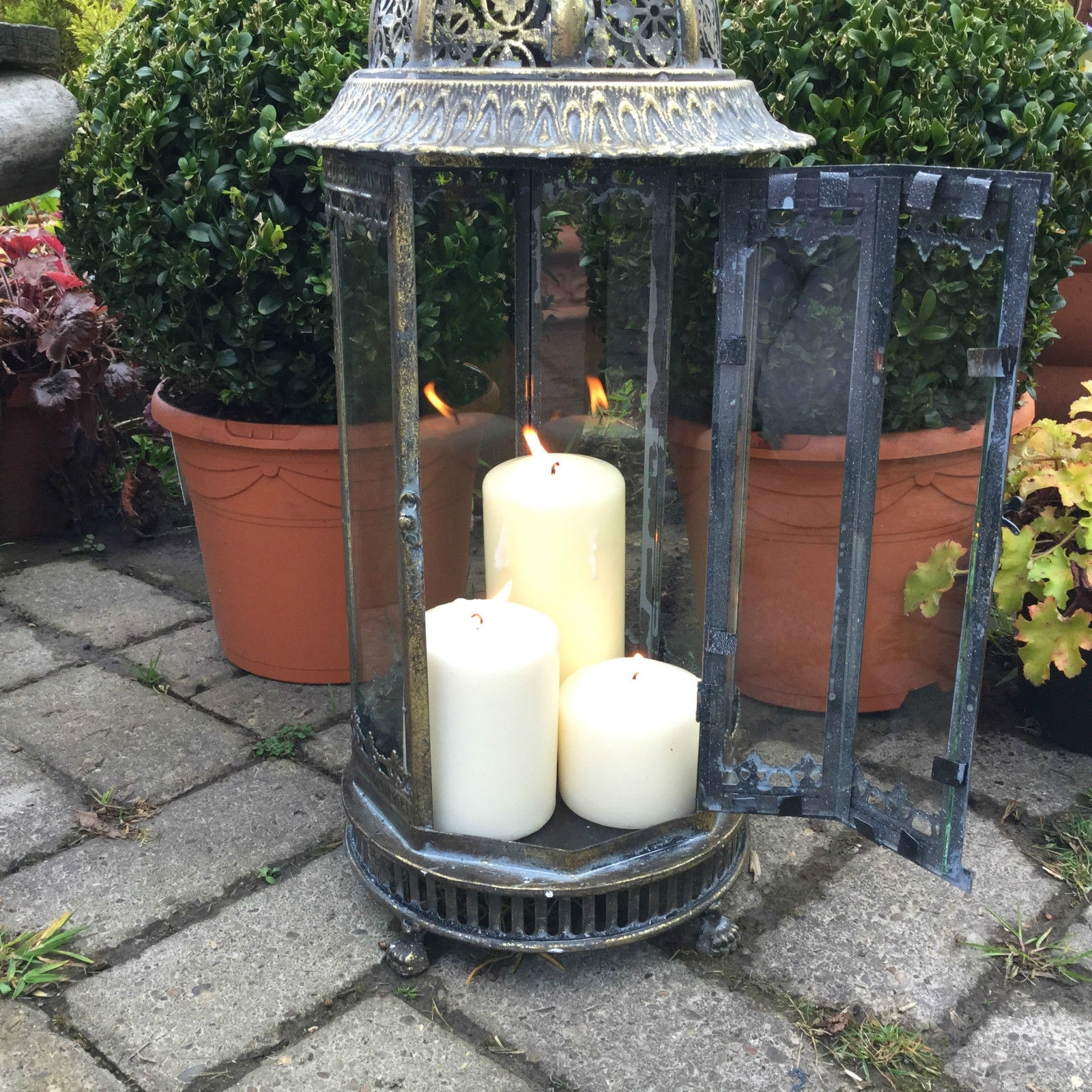 Extra Large Metal Garden Lantern Candle Holder Antique French With Regard To Most Recent Outdoor Lanterns With Flameless Candles (Gallery 12 of 20)
