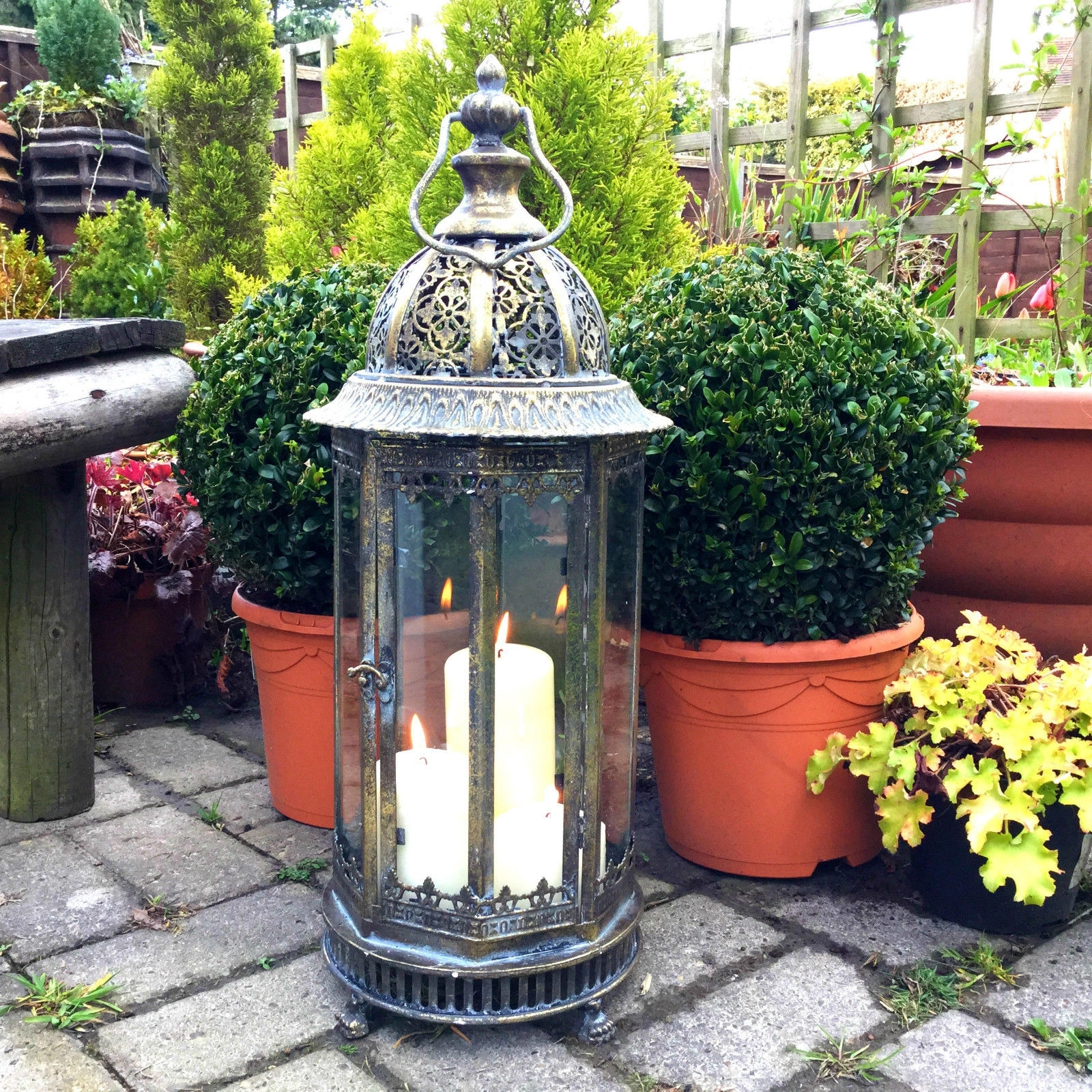 Extra Large Outdoor Lanterns Throughout Trendy Extra Large Metal Garden Lantern Candle Holder Antique French (View 7 of 20)