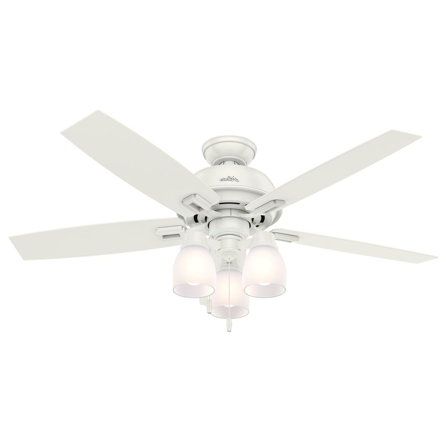Famous 48 Inch Outdoor Ceiling Fans With Light Intended For Hunter Donegan 52 In Fresh White Downrod Or Close Mount Indoor (View 7 of 20)