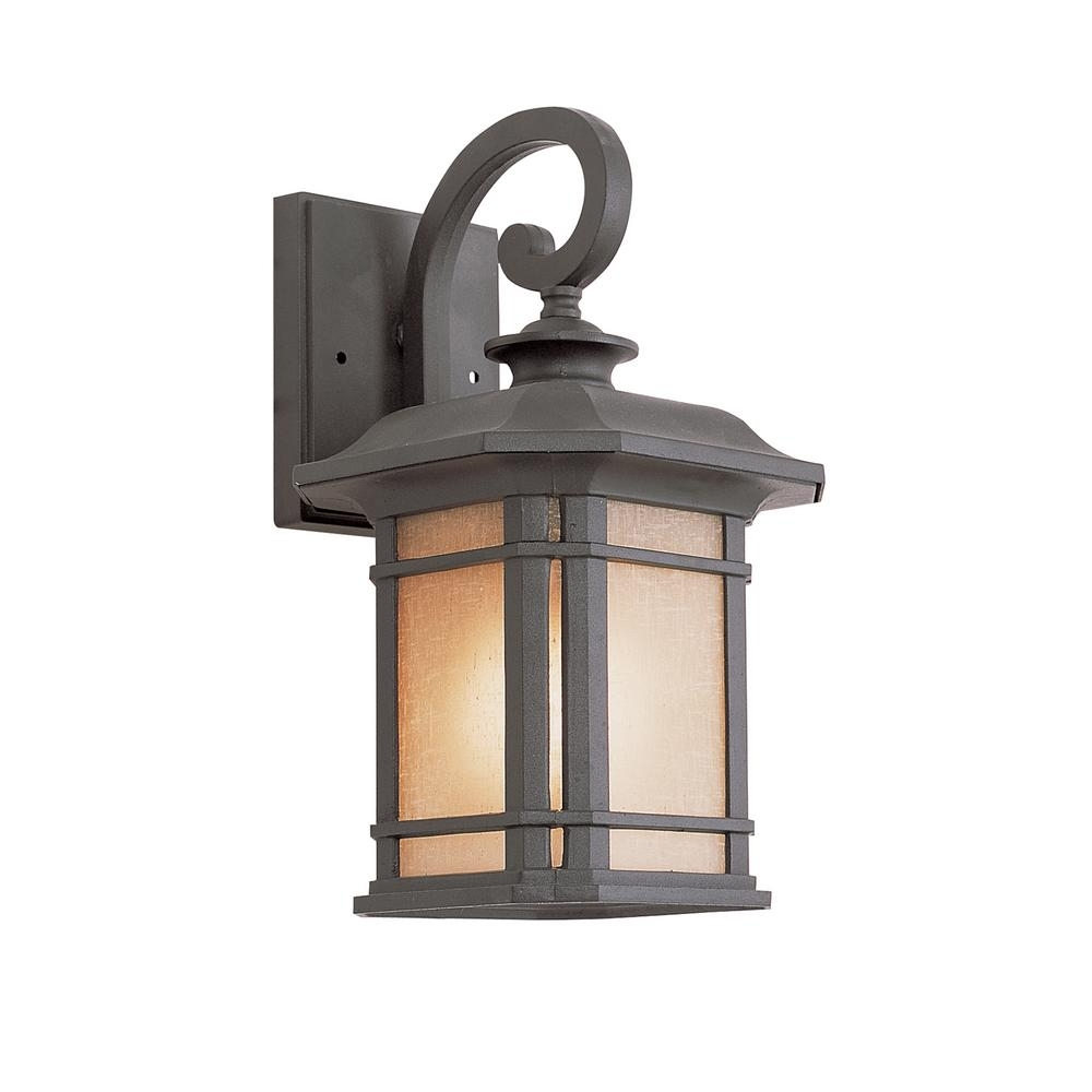 Famous Bel Air Lighting 1 Light Black Outdoor Wall Lantern With Tea Stained Throughout Modern Outdoor Lanterns (View 9 of 20)