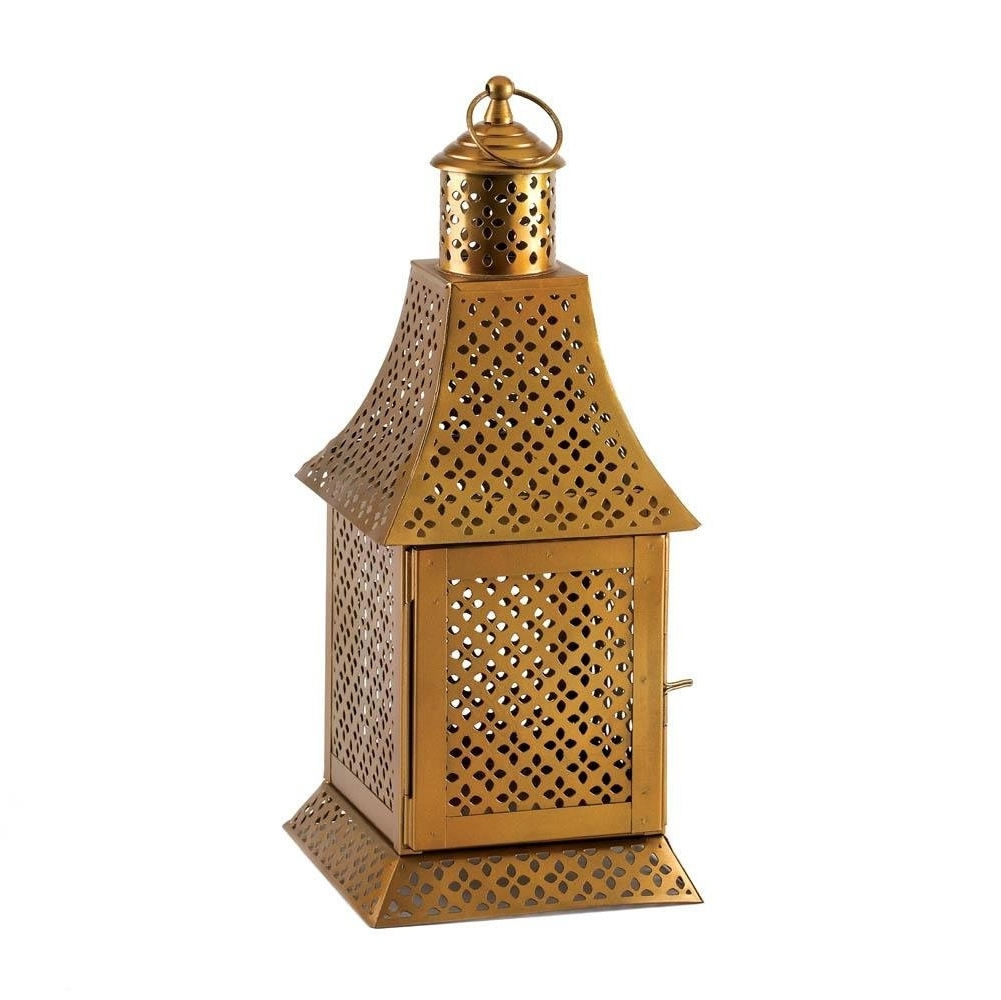 Famous Floor Lantern, Enigma Gold Metal House Porch Portable Outdoor Regarding Gold Outdoor Lanterns (View 6 of 20)