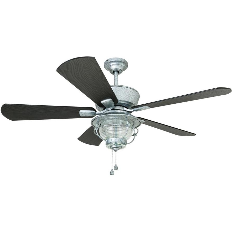 Famous Galvanized Outdoor Ceiling Fans Pertaining To Shop Harbor Breeze Merrimack 52 In Galvanized Indoor/outdoor Downrod (View 15 of 20)