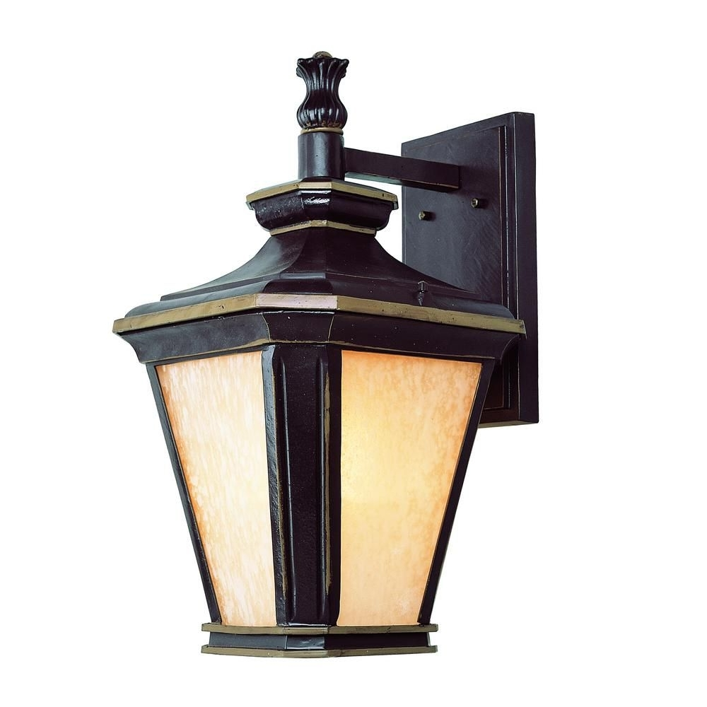 Famous Hampton 1 Light Brown And Gold Outdoor Wall Mount Lantern (View 7 of 20)