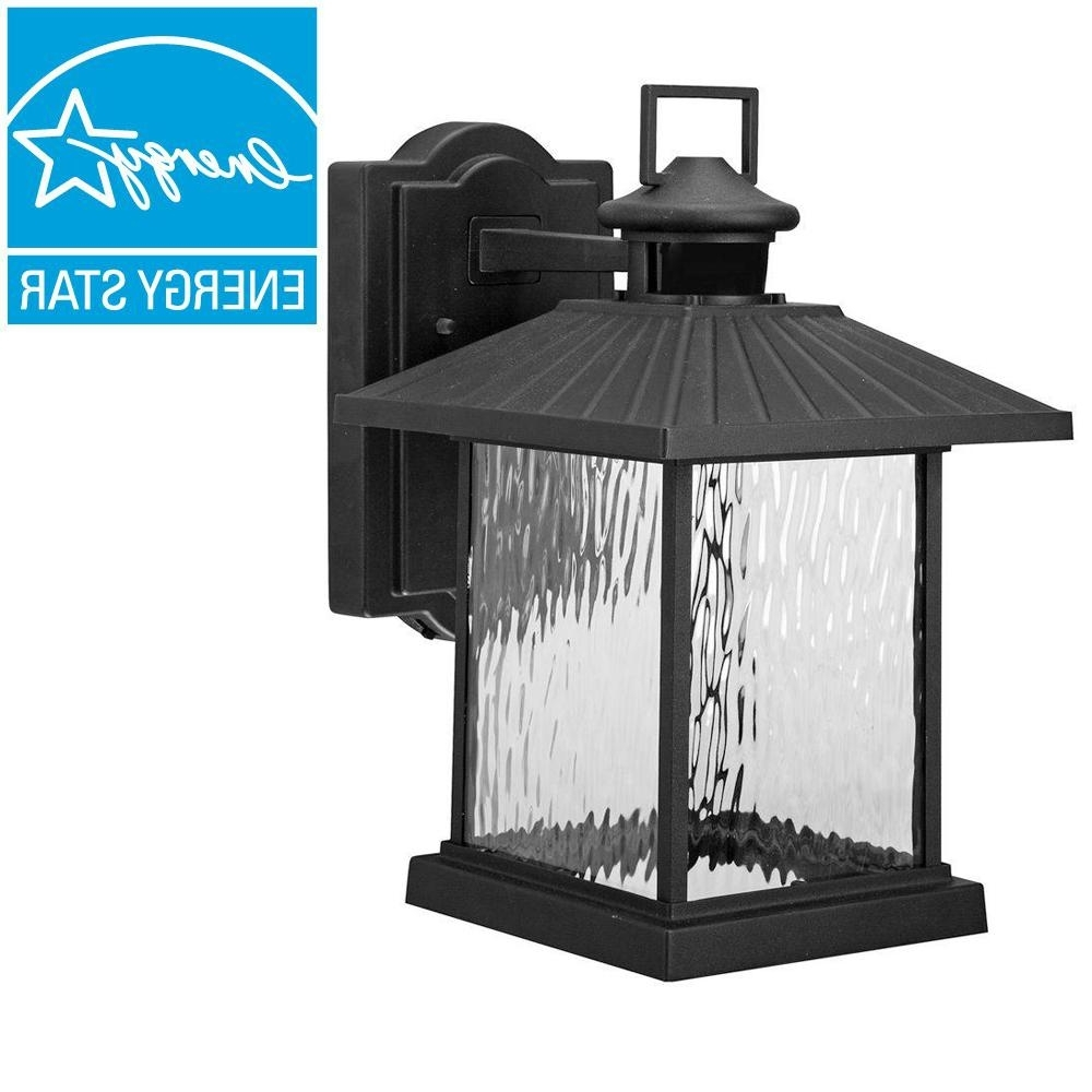 Famous Hampton Bay Lumsden Outdoor Black Led Motion Sensor Wall Mount Inside Outdoor Motion Lanterns (View 3 of 20)