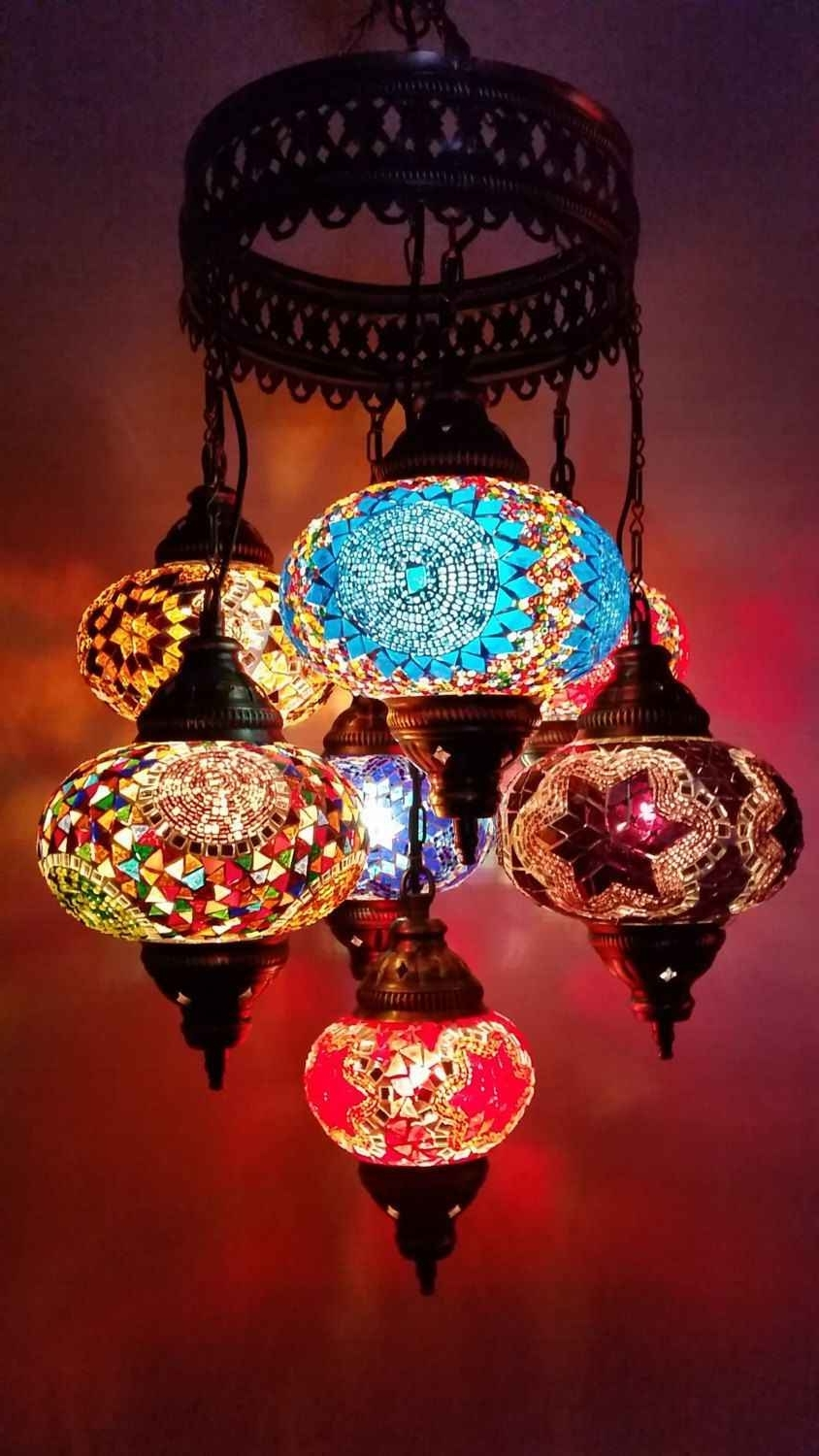 Famous Multicolor Handmade 7 Balls Moroccan Mosaic Hanging Lamp Lantern Inside Outdoor Mosaic Lanterns (View 5 of 20)