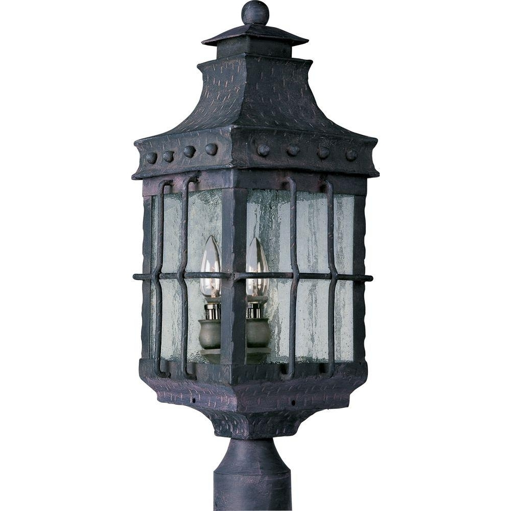 Famous Nantucket Outdoor Lanterns Pertaining To Maxim Lighting Nantucket 3 Light Country Forge Outdoor Pole/post (View 12 of 20)
