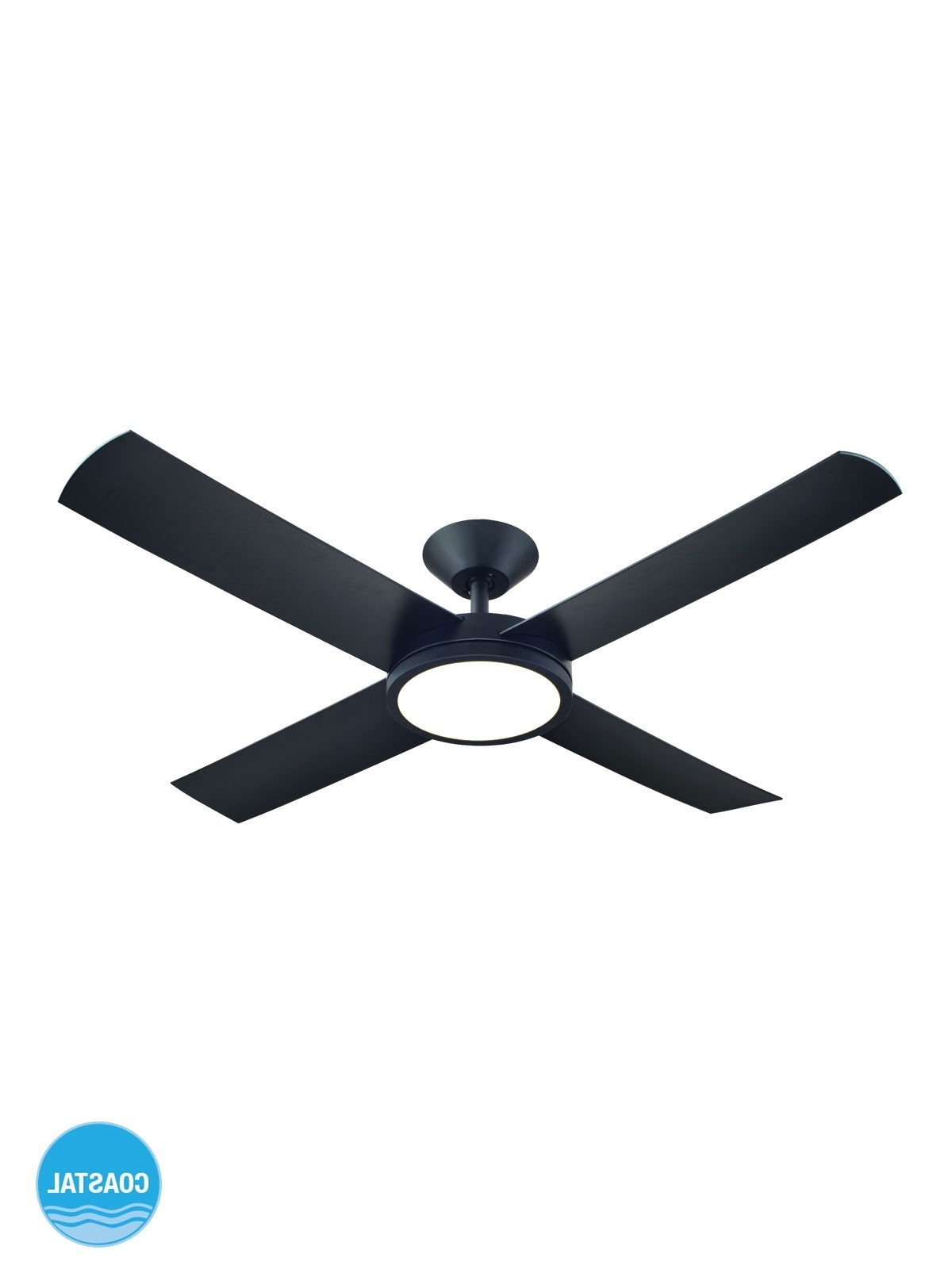 Famous Outdoor Ceiling Fan With Light Under $100 Throughout Aero 132cm Fan With Led Light In Black (View 9 of 20)