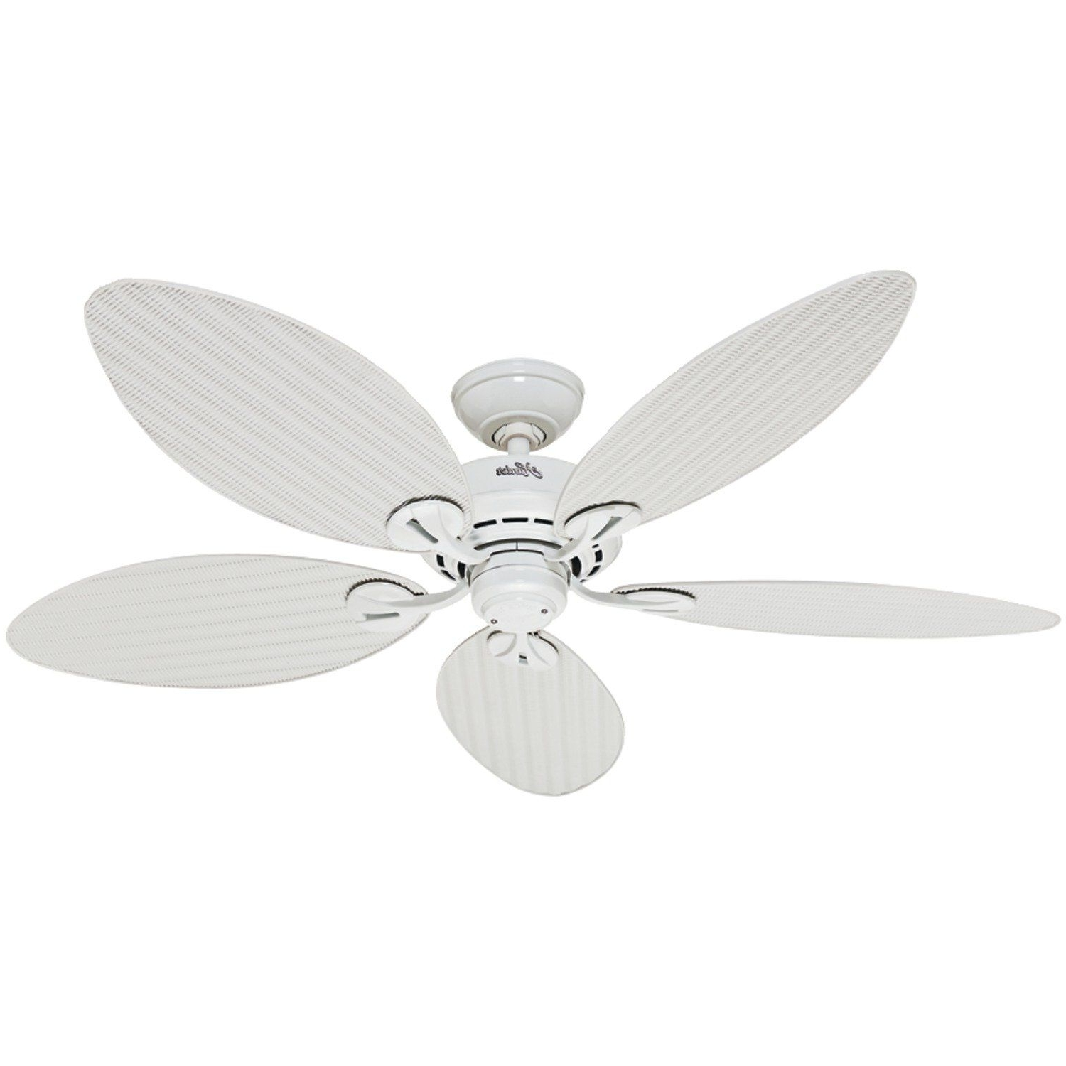 Famous Outdoor Ceiling Fans With Plastic Blades Pertaining To Hunter Fan Company 54097 Bayview 54 Inch Etl Damp Listed Ceiling Fan (View 6 of 20)