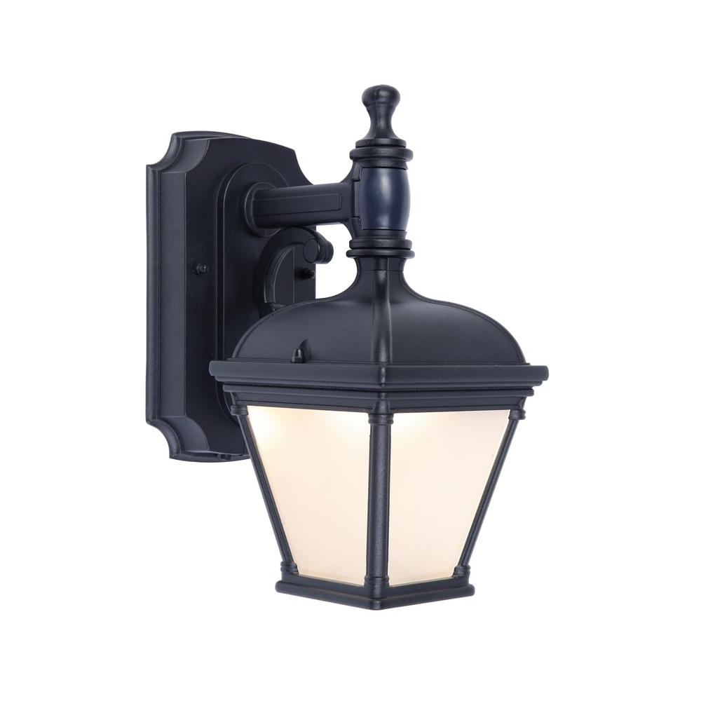 Famous Outdoor Lanterns With Pir Intended For Home Decorators Collection 1 Light Black Motion Activated Outdoor (View 4 of 20)
