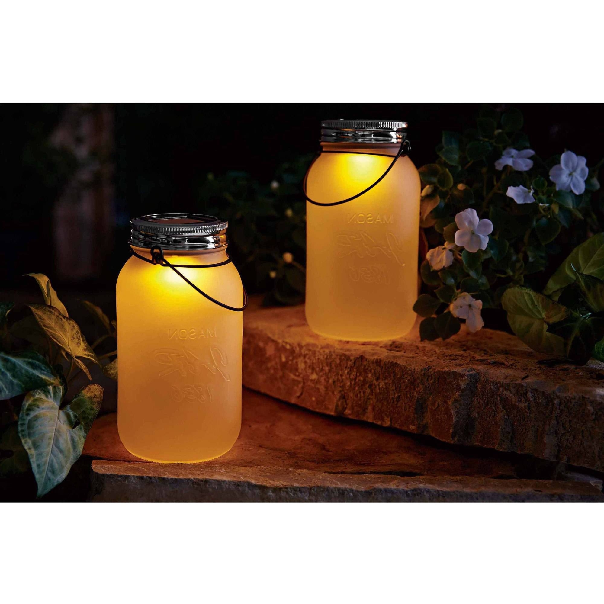 Famous Walmart Outdoor Lanterns Throughout Mainstays Ms Solar Mason Jar – Walmart (View 17 of 20)