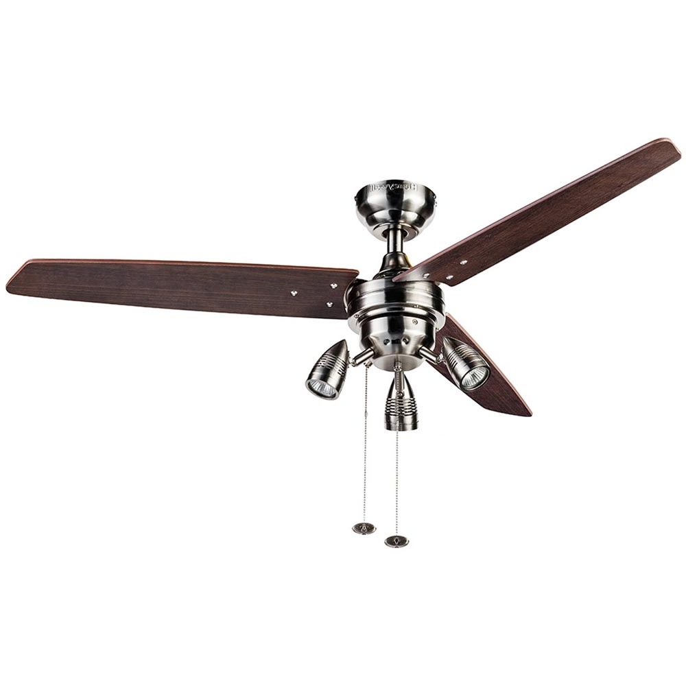 Fashionable 48 Inch Outdoor Ceiling Fans With Light In Honeywell Wicker Park Ceiling Fan, Satin Nickel, 48 Inch –  (View 9 of 20)