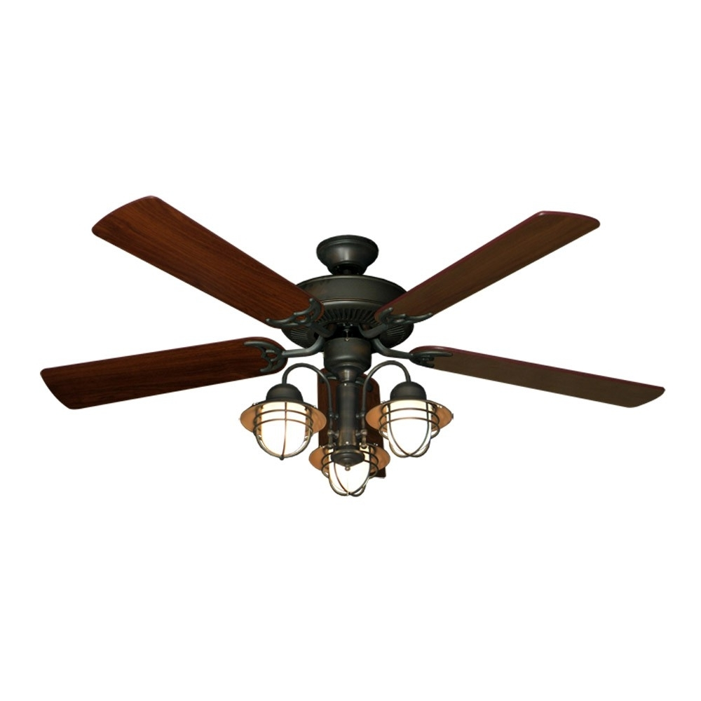 """Fashionable 52"""" Nautical Ceiling Fan With Light – Oil Rubbed Bronze – Unique Styling With Regard To Unique Outdoor Ceiling Fans With Lights (View 7 of 20)"""