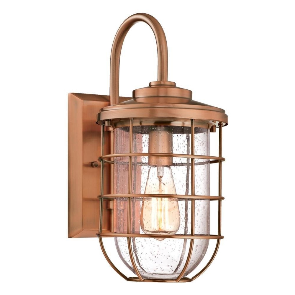 Fashionable Copper Outdoor Lanterns Inside Westinghouse Ferry 1 Light Washed Copper Outdoor Wall Mount Lantern (View 2 of 20)
