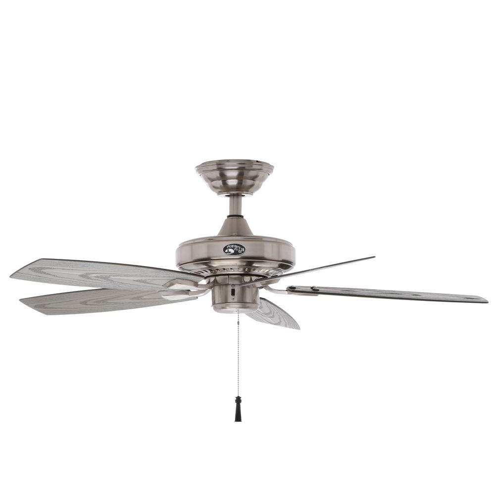 "Fashionable Hampton Bay 42"" Gazebo Ii Indoor/outdoor Ceiling Fan, Brushed Nickel With Regard To Grey Outdoor Ceiling Fans (View 17 of 20)"