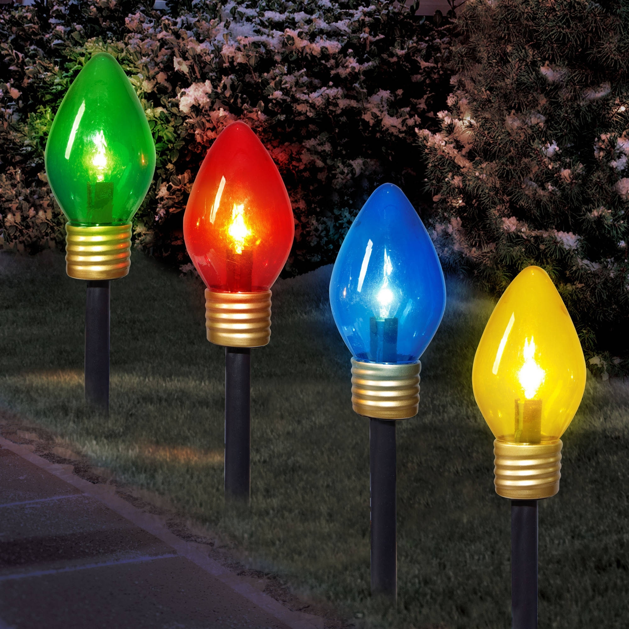 Fashionable Holiday Time Christmas Lights Jumbo C9 Lighted Lawn Stake, 4 Piece For Jumbo Outdoor Lanterns (View 2 of 20)