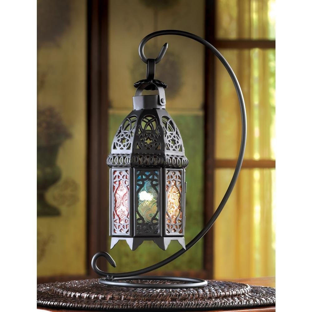 Fashionable Lantern Light Stand, Rainbow Moroccan Glass Candle Outdoor Standing Regarding Outdoor Standing Lanterns (View 19 of 20)