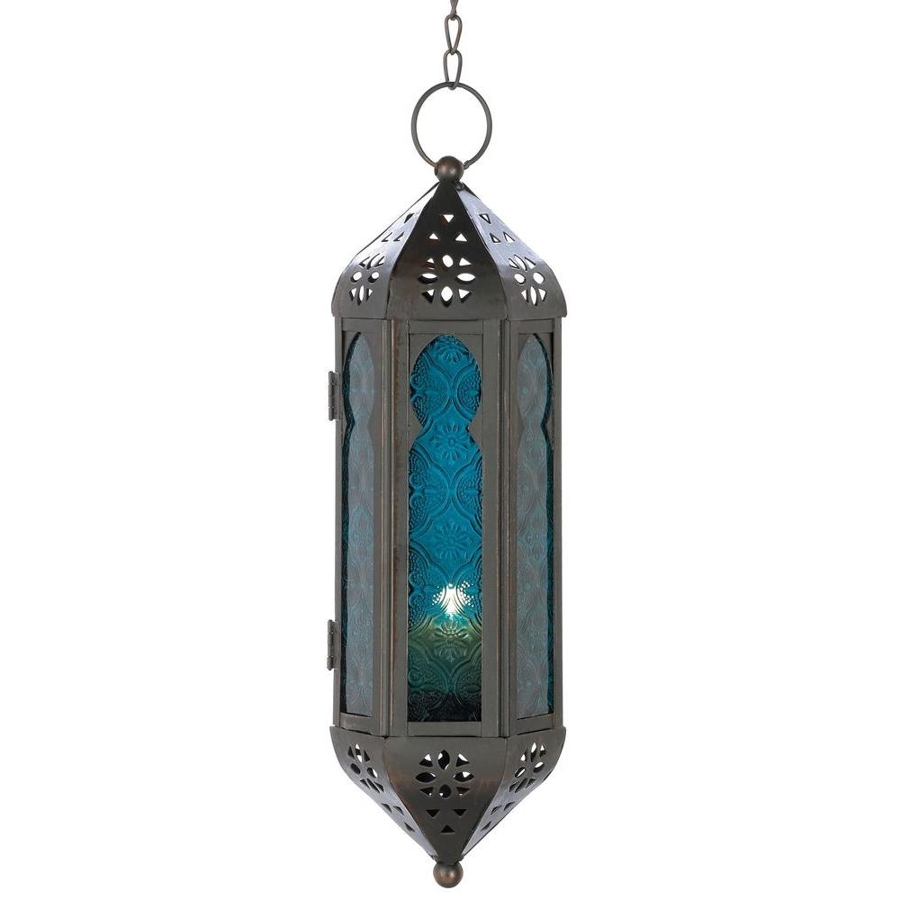 Fashionable Malibu Creations Blue Moroccan Candle Lantern 08101420 – The Home Depot With Regard To Moroccan Outdoor Lanterns (Gallery 9 of 20)