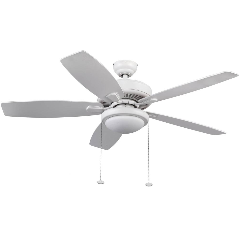 Fashionable Outdoor Ceiling Fans With Led Globe Pertaining To Honeywell Blufton Outdoor & Indoor Ceiling Fan, White, 52 Inch (View 7 of 20)