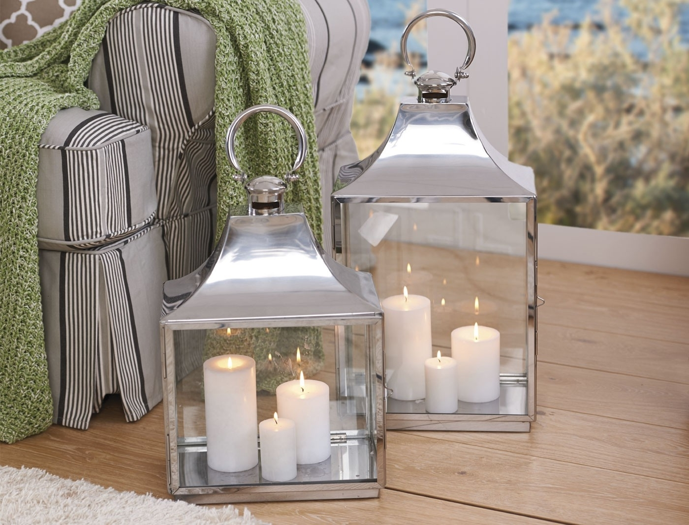 Fashionable Outdoor Lanterns And Votives With Household Pillar Candles – Ivory (View 17 of 20)