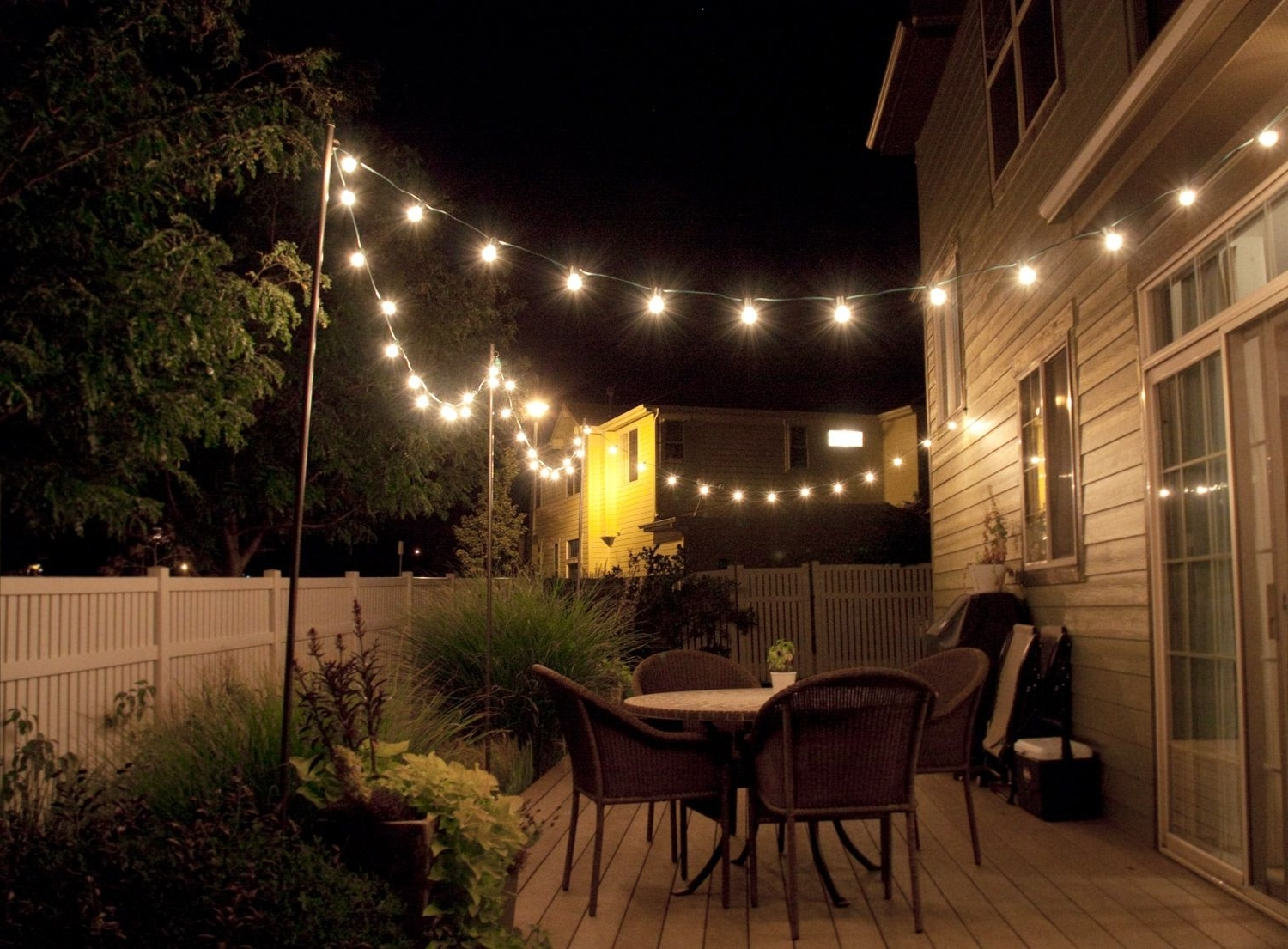 Fashionable Outdoor String Lanterns In How To Make Inexpensive Poles To Hang String Lights On – Café Style (Gallery 1 of 20)