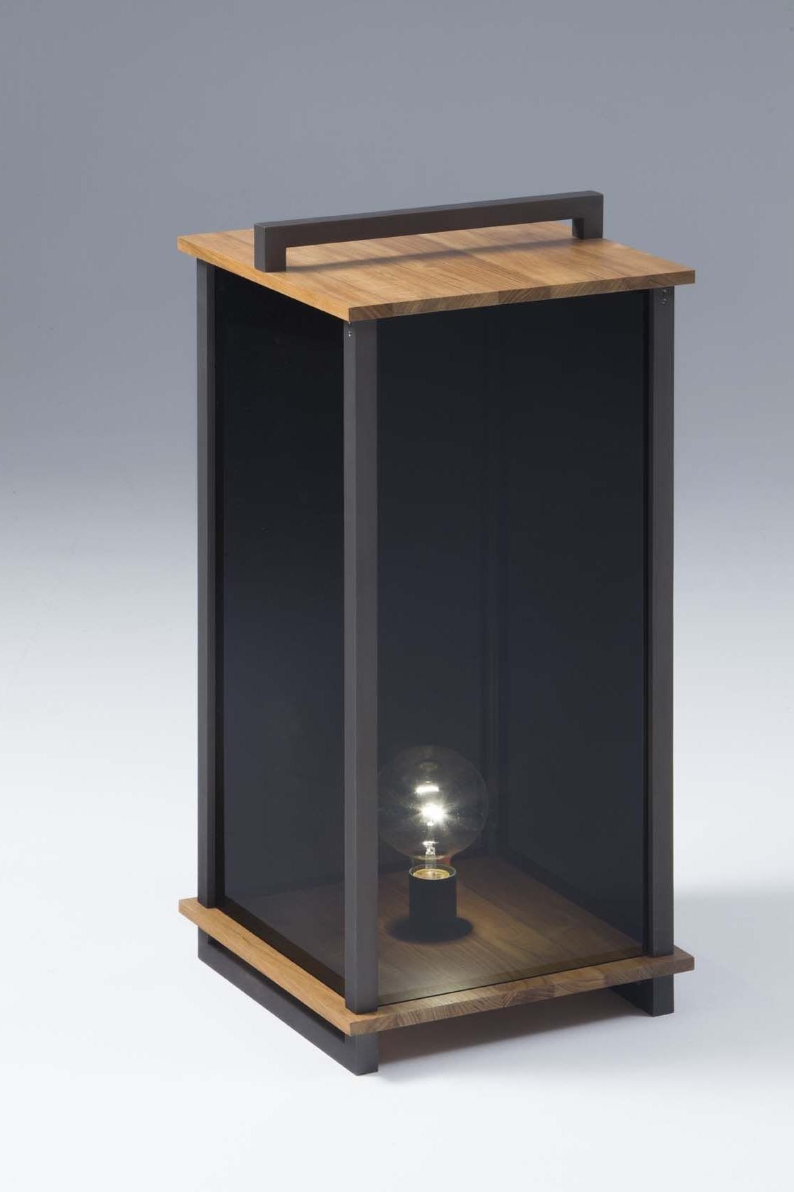 Fashionable Outdoor Teak Lanterns Inside Ikon L Lantern Teak Wood – Burnished (Gallery 19 of 20)