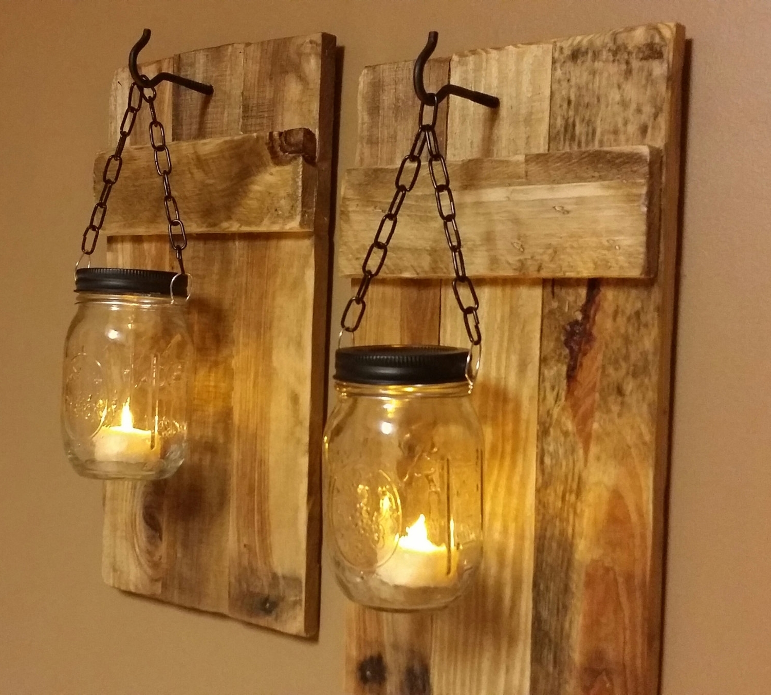 Fashionable Outdoor Wall Lighting Ideas With Diy Hanging Mason Jar Candle Pertaining To Outdoor Jar Lanterns (View 5 of 20)