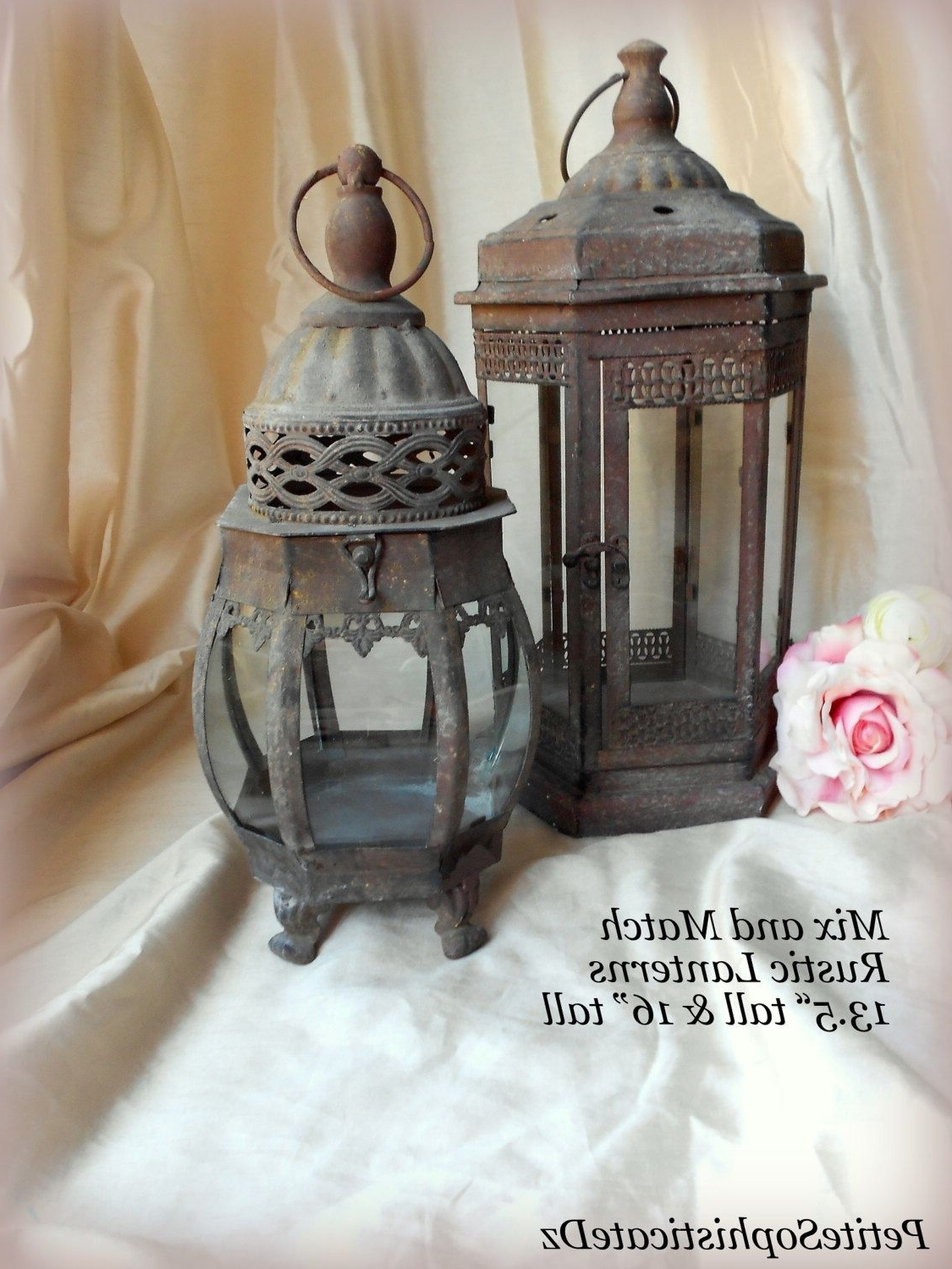 Fashionable Sale Mix & Match Rustic Lanterns,indoor/outdoor Rustic Centerpiece Inside Etsy Outdoor Lanterns (View 13 of 20)