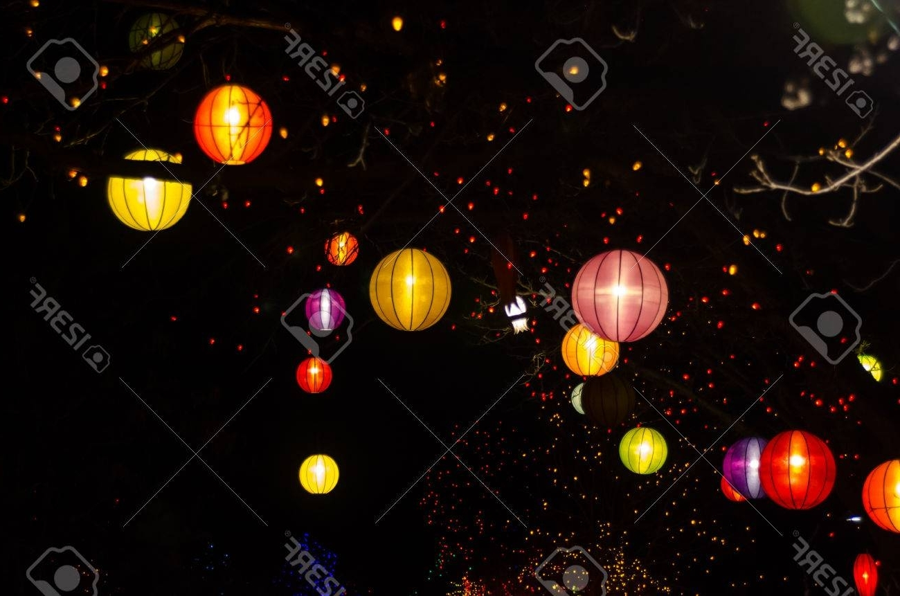 Favorite Chinese Lanterns And Christmas Lights Hanging In Outdoor Trees Stock In Outdoor Orange Lanterns (View 5 of 20)