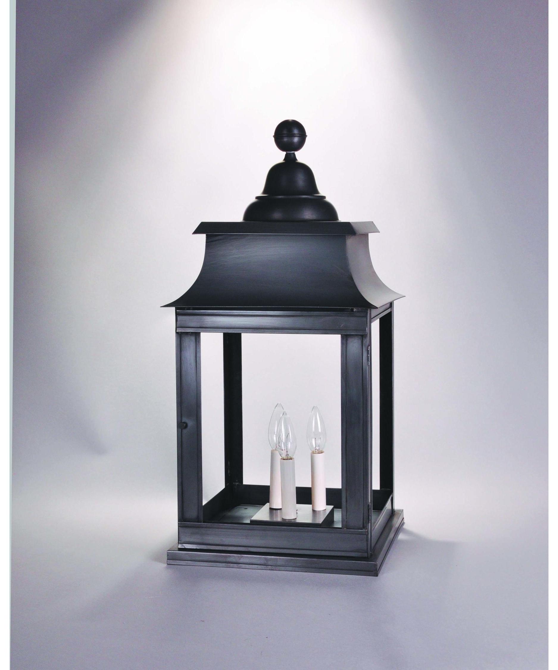 Favorite Copper Outdoor Lanterns Regarding Northeast Lantern 5653p Lt3 Concord 3 Light Outdoor Pier Lamp (View 19 of 20)