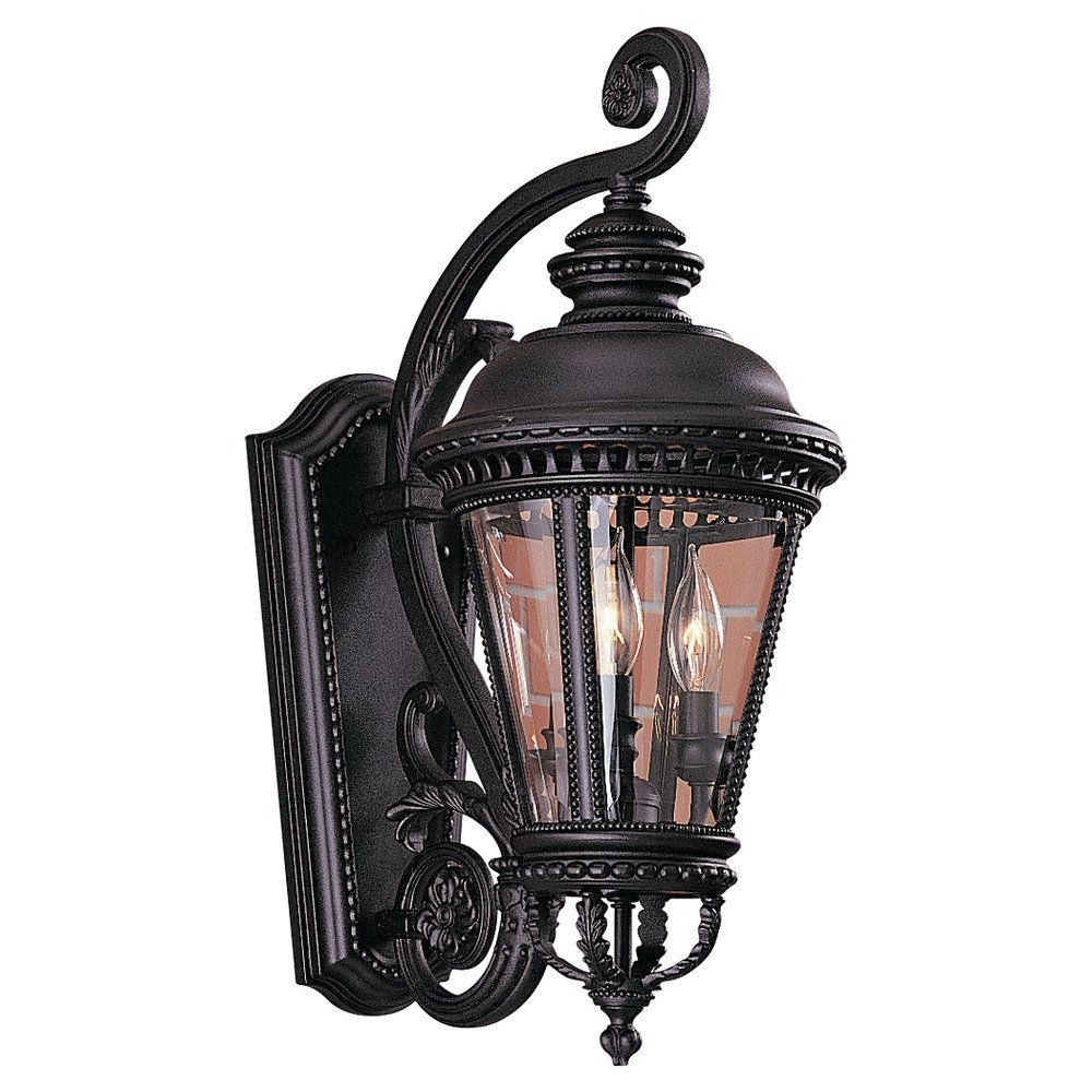Favorite Elegant Outdoor Lanterns Within Feiss Castle 3 Light Black Outdoor Wall Lantern Ol1901bk – The Home (View 9 of 20)