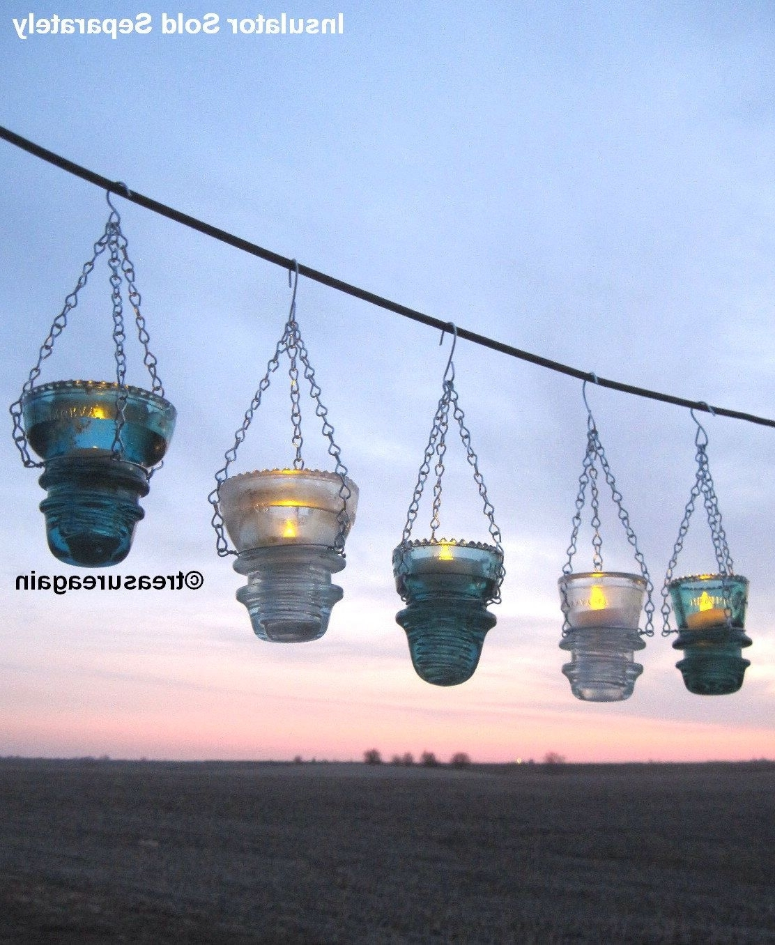 Favorite Etsy Outdoor Lanterns With Diy Insulator Hanger Lantern Tea Light Holder, Outdoor Hanging (View 9 of 20)