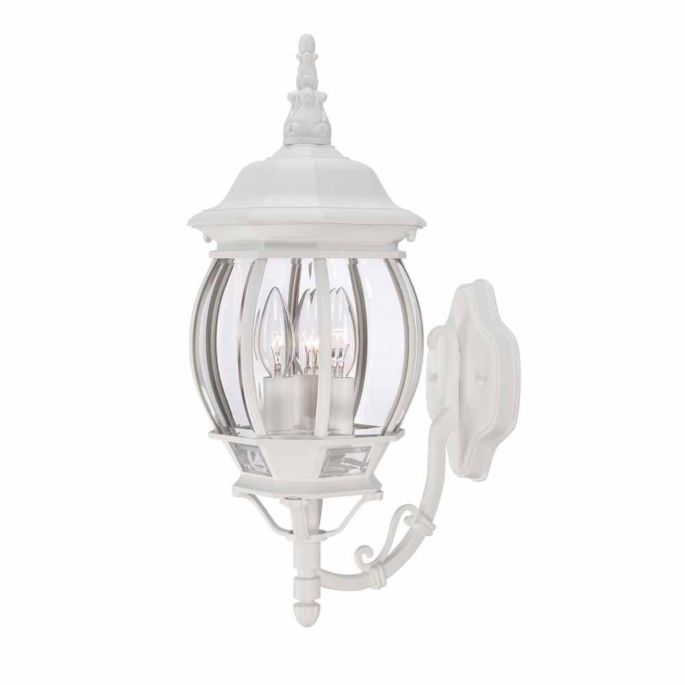 Favorite Hampton Bay 3 Light White Outdoor Wall Lantern Hb7028 06 – The Home In White Outdoor Lanterns (View 11 of 20)