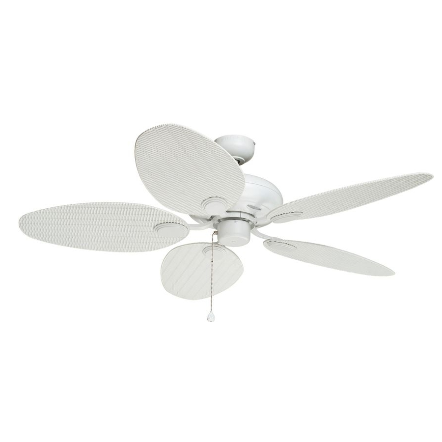Favorite Harbor Breeze Outdoor Ceiling Fans Intended For Shop Harbor Breeze Tilghman 52 In Matte White Downrod Or Flush Mount (View 18 of 20)