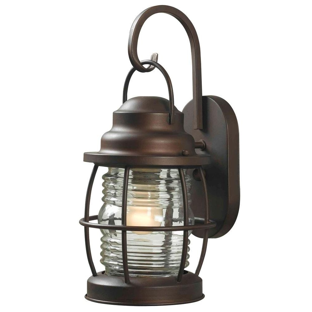 Favorite Home Depot Outdoor Lanterns Intended For Home Decorators Collection Harbor 1 Light Copper Outdoor Small Wall (View 18 of 20)