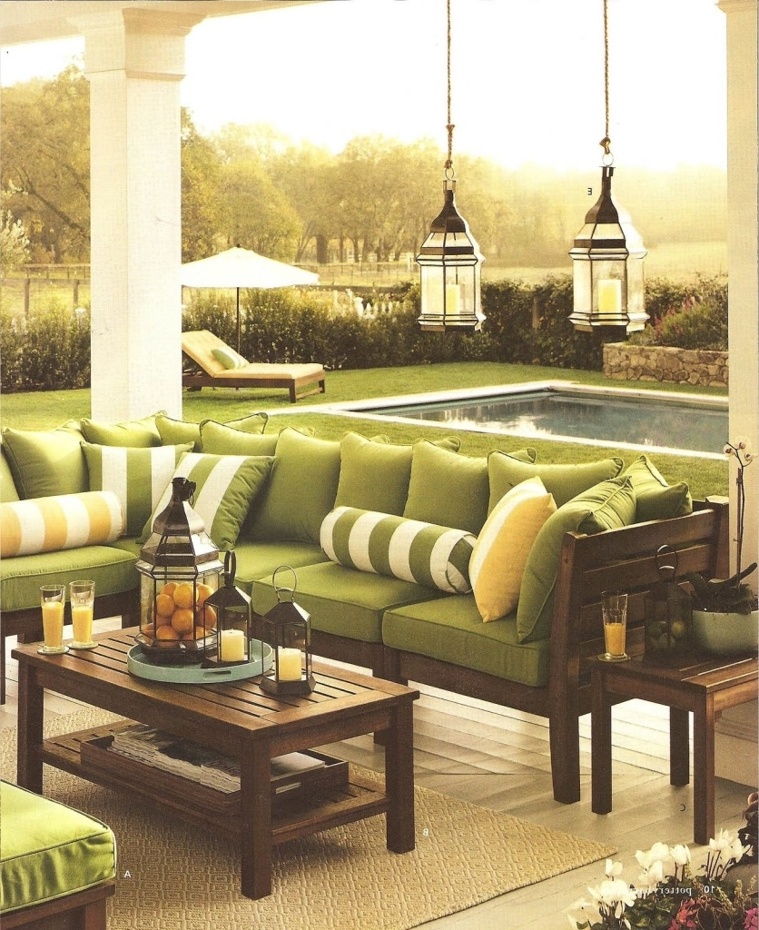 Favorite Interior: Brown Hard Wood Pottery Barn Outdoor Tables With Sectional Intended For Outdoor Lanterns At Pottery Barn (View 12 of 20)