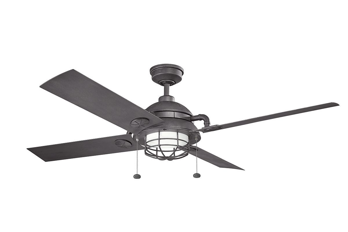 "Favorite Kichler 310136dbk Distressed Black 65"" Outdoor Led Ceiling Fan With Intended For Outdoor Ceiling Fans With Pull Chains (View 10 of 20)"
