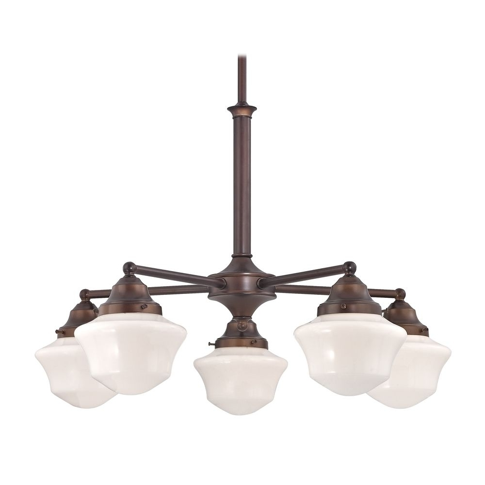 Favorite Outdoor Ceiling Fans With Schoolhouse Light Intended For Schoolhouse Chandelier With Five Lights In Bronze Finish (View 6 of 20)