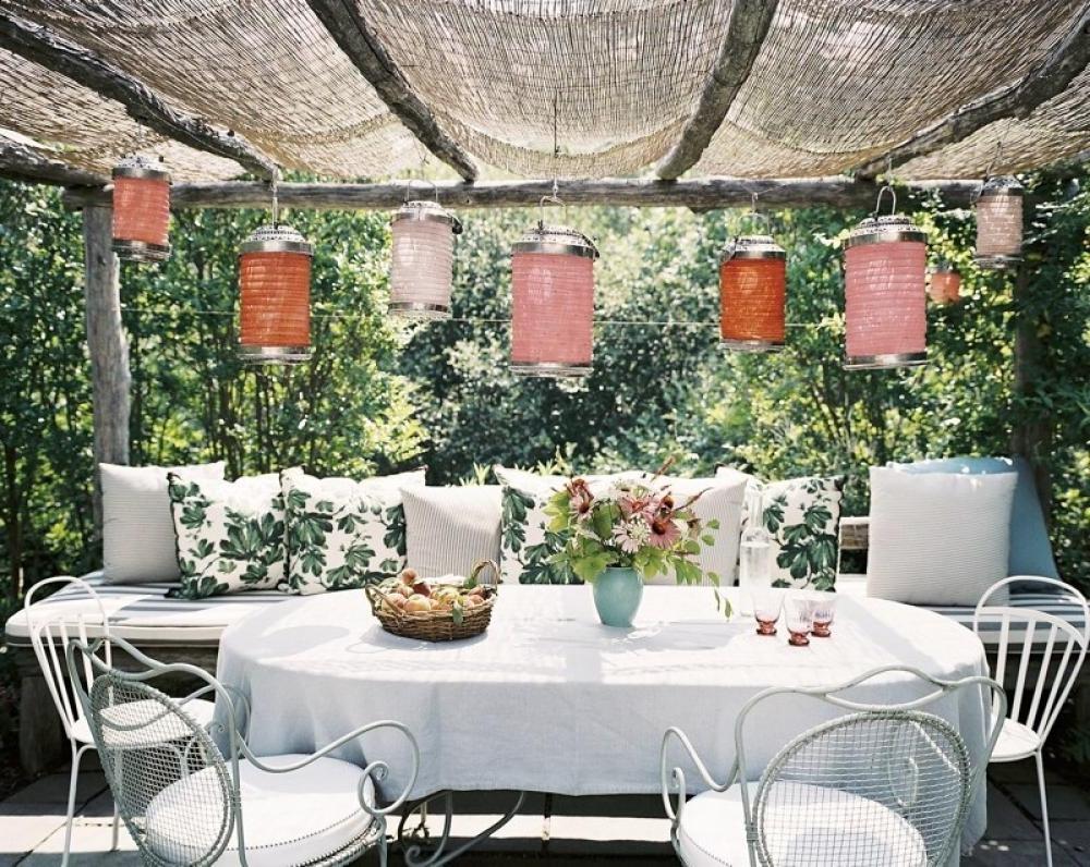 Favorite Outdoor Dining Lanterns With Regard To Indoor Garden Lanterns Pergola Outdoor Dining Area Olpos Design (View 6 of 20)